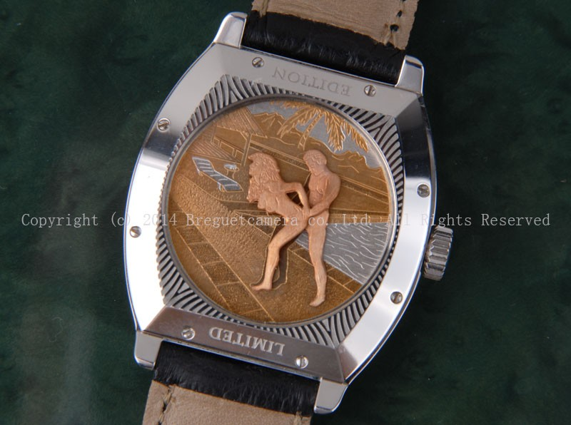 l-13表背手工雕刻春宫系列36mm白金手动腕表